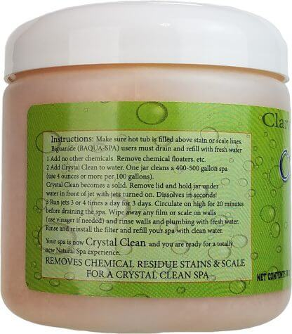 Back oc Crystal Clean Natural Hot Tub Cleaner
